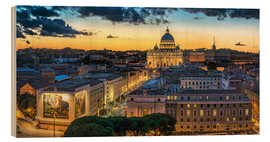Wood print  Roma St. Peters dome - FineArt Panorama