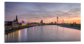 Acrylic glass  Dusseldorf Skyline at blazing red sunset - Michael Valjak