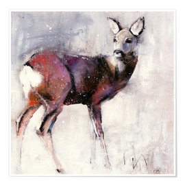 Premium poster Shy deer in the snow