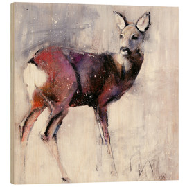 Wood print  Shy deer in the snow - Mark Adlington