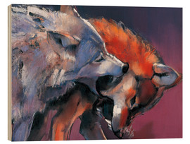 Wood print  Playing Wolves - Mark Adlington