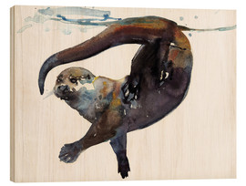Wood print  Sea otter in the water - Mark Adlington