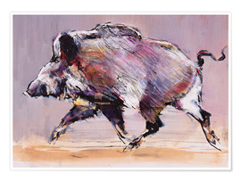 Premium poster  Running boar - Mark Adlington