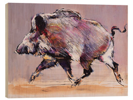 Wood print  Running boar - Mark Adlington