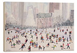 Wood print  Skating in Central Park, New York, 1994 - Judy Joel