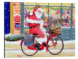 Aluminium print  Father Christmas on a Bicycle - Tony Todd