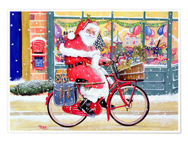 Premium poster Father Christmas on a Bicycle