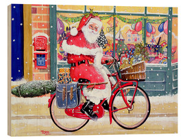 Wood print  Father Christmas on a Bicycle - Tony Todd
