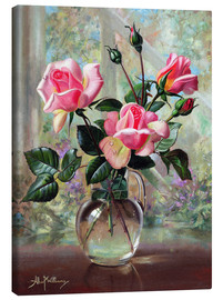 Canvas  Madame Butterfly Roses in a Glass Vase - Albert Williams