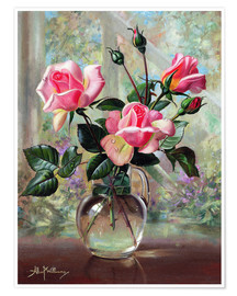 Premium poster Madame Butterfly Roses in a Glass Vase