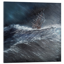 Acrylic glass  HMS Beagle in a storm off Cape Horn Dec. 24th 1832, 2014, Oil On Canvas - Vincent Alexander Booth