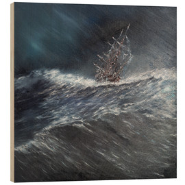 Wood  HMS Beagle in a storm off Cape Horn Dec. 24th 1832, 2014, Oil On Canvas - Vincent Alexander Booth