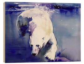 Wood print  Polar bear underwater - Mark Adlington