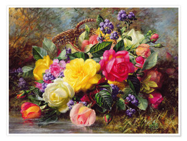 Premium poster  Roses by a Pond - Albert Williams