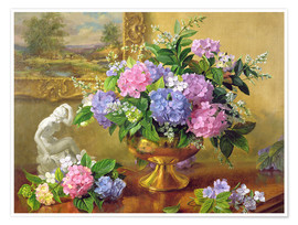 Poster Still Life with hydrangeas and lilacs