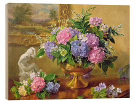 Wood print  Still Life with hydrangeas and lilacs - Albert Williams