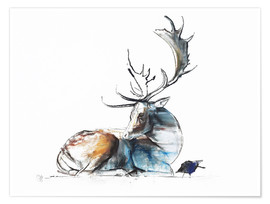 Premium poster  Elk with bird - Mark Adlington