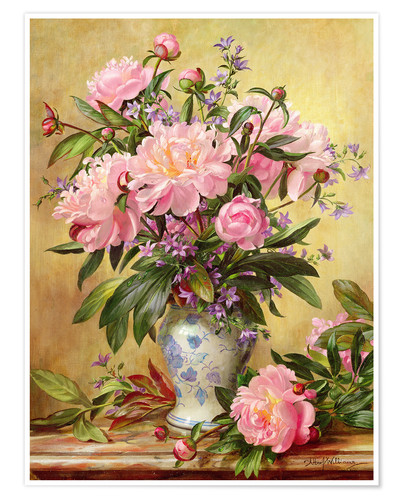 Poster Vase of Peonies and Canterbury Bells
