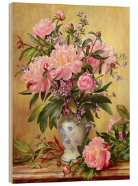 Wood print  Vase of peonies and canterbury bells - Albert Williams