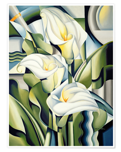 Poster Cubist lilies