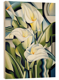 Wood print  Cubist lilies - Catherine Abel