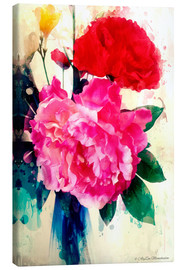 Canvas print  Peony and poppy, 2014 - Alyzen Moonshadow