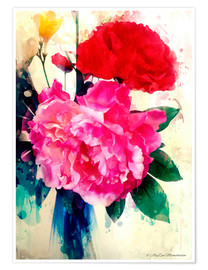 Premium poster  Peony and poppy, 2014 - Alyzen Moonshadow