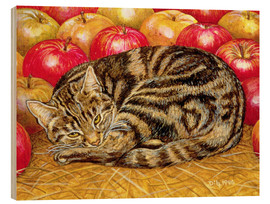 Wood print  Cat and Apples - Ditz