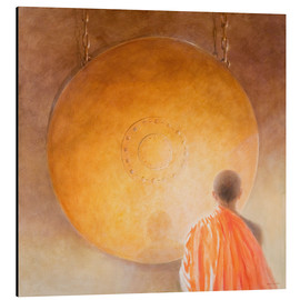 Aluminium print  Young buddhist monk with a gong - Lincoln Seligman