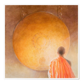 Poster Young Buddhist Monk and Gong