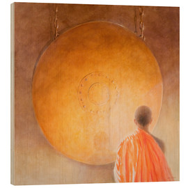Wood print  Young buddhist monk with a gong - Lincoln Seligman
