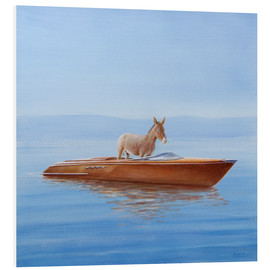 Foam board print  Donkey in a boat - Lincoln Seligman