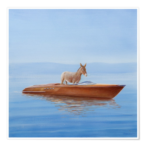 Premium poster Donkey in a boat