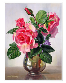 Premium poster Lady Sylvia Roses in a Silver Vase