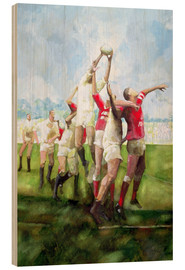 Wood print  Rugby Match: Llanelli v Swansea, Line Out, 1992 - Gareth Lloyd Ball