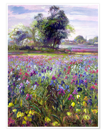 Premium poster Flower field with tree