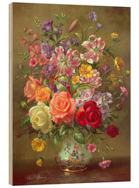 Wood print  A Summer Floral Arrangement - Albert Williams