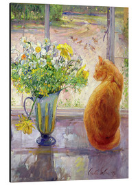 Alu-Dibond  Cat with Flowers in the window - Timothy Easton
