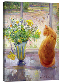 Canvas print  Cat with flowers in the window - Timothy Easton