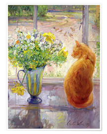 Premium poster  Cat with flowers in the window - Timothy Easton