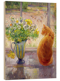 Wood  Cat with Flowers in the window - Timothy Easton