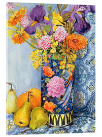 Acrylic print  Irises and roses in a Japanese vase with pears - Joan Thewsey