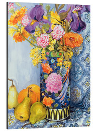 Alu-Dibond  Irises and roses in a Japanese vase with pears - Joan Thewsey