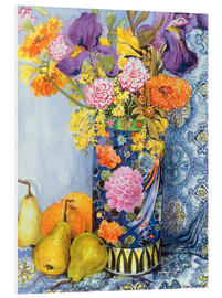 Foam board print  Irises and roses in a Japanese vase with pears - Joan Thewsey