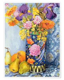 Premium poster  Irises and roses in a Japanese vase with pears - Joan Thewsey