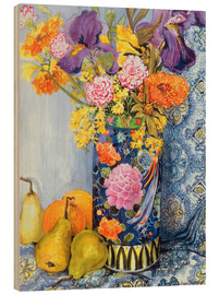 Wood print  Irises and roses in a Japanese vase with pears - Joan Thewsey