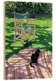 Wood print  Black Cat and Dappling - Lucy Willis