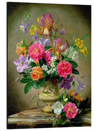 Aluminium print  Peonies and irises in a ceramic vase - Albert Williams