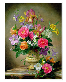 Premium poster Peonies and irises in a ceramic vase
