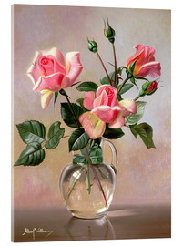 Acrylic glass  Pink Roses in a Glass Jug - Albert Williams